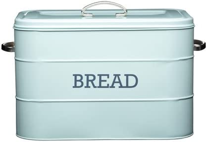 Kitchen Craft Living Nostalgia Duck Egg Blue Steel Bread Bin