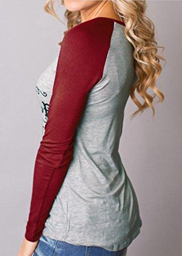 Bluestercool - Las mujeres de largo camisa de manga blusa, Feliz Navidad Vino rojo