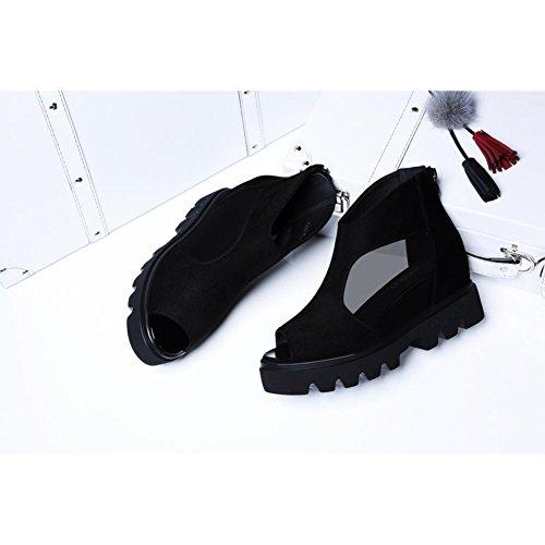 Mujeres Sandalias Malla con Proceso Hueco Hembra 6231 Transpirable de KJJDE Zapatos Zapatos Plataforma Creativo Black Casuales de Material JZTC xqtgOY1vOw