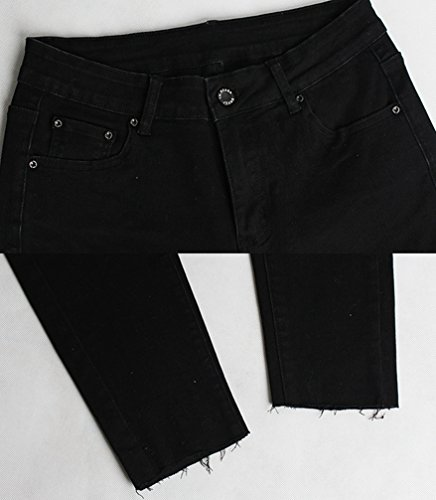 Crayon Pantalon Trous lastique Genou avec Skinny YOUJIA Jeans Tapered Dchir Femmes Noir Jeans W6xqpwwZ8S