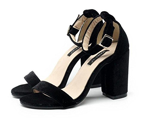 Word Sandals Black High Shoes Heeled Suede Black Pink Wild Pumps Nice GLTER Strap Court Simple Women Ankle gZz8U