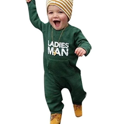 Clearance Sale Newborn Infant Baby Boys Winter Clothes Fashion Long Sleeve Jumpsuit Romper Outfit (0-6M, Green)
