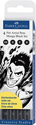 Faber-Castel 167132 PITT Artist Manga Drawing Pens, Black, (Pitt Manga)