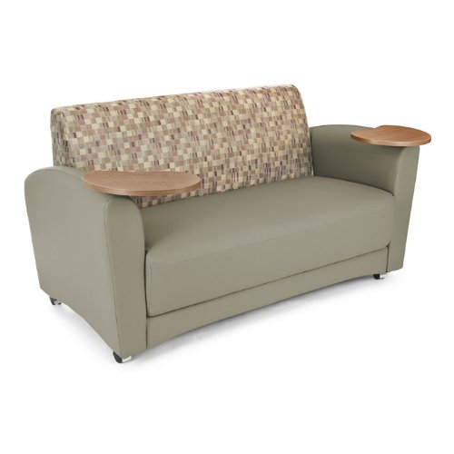 OFM InterPlay Series Upholstered Guest / Reception Sofa, Plum/Taupe, Bronze Tablet