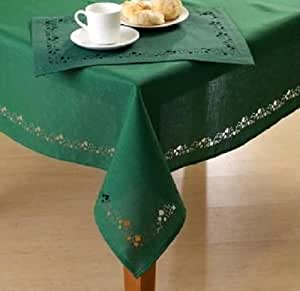 St. Patricks Day Swirling Shamrocks Cutwork Tablecloth 60 x 84