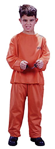 Convict Clown Child Costume (UHC Boy's Convict Got Busted Outfit Funny Theme Child Halloween Fancy Costume, Child M (8-10))