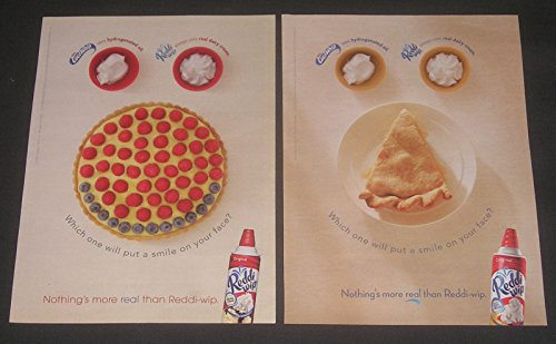 reddi-wip-topping-lot-of-2-magazine-advertisements-dessert-with-smiling-faces-2-original-print-ads-c