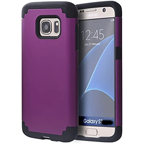 Galaxy S7 Edge Case, S7 Edge Case, Samsung Galaxy S7 Edge Case, AMCHOICE(TM) Armor Back Case For Samsung Galaxy S7 Edge (Purple+Black), (Free Sales