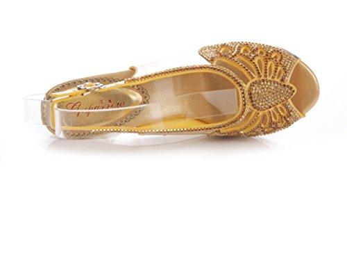 SHFANG Sandalias de las señoras Rhinestones Sandalias del alto talón Verano Poe pescado Rhinestones de la boca Banquete hueco del metal 8CM de oro gold (fine heel)