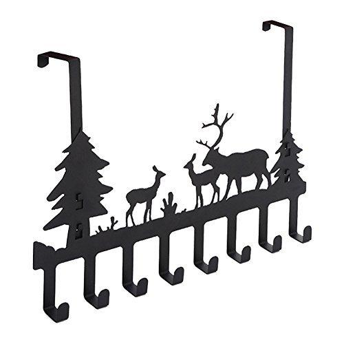 DIRUISHEN Over Door Hook Rack,Vintage Metal Deer Wall Hooks,Decorative Organizer Hooks for Clothes, Coat, Hat, Belt, Towels,Stylish Over Door Hanger for Home or Office Use (8 - Deer Motif