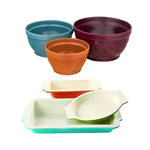 Gibson Home Colorsplash 3 Piece Imbue Bakeware Set in Assorted Colors bundle with The Pioneer Woman Cornucopia Mixing Bowl Set. 3-Piece