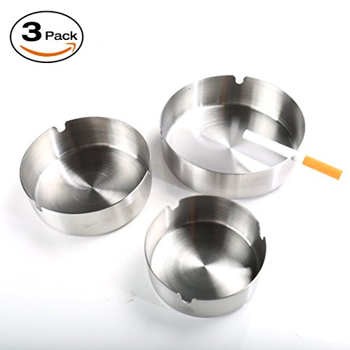 Ashtray Stainless Steel with Slot Ashtrays for Cigarettes Home Office and Indoor or Outdoor Ash Tray 3 Pack