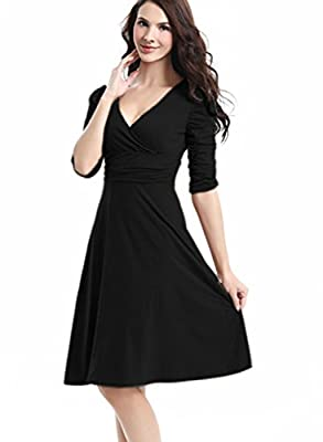 FairyMei Women's V Neck 3/4 Sleeve Casual Plain Simple Flare Midi Dress