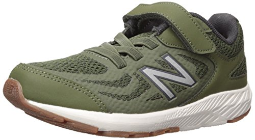 New Balance Boys' 519v1 Hook and Loop Running Shoe, Dark Covert Green/Phantom, 3.5 W US Big - Balance Boys Shoes Wide New
