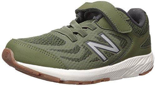New Balance Boys' 519v1 Hook and Loop Running-Shoes, Dark Covert Green/Phantom, 5 M US Big Kid -