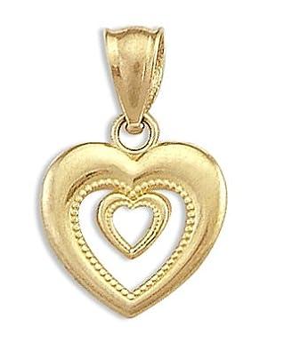 Heart in Heart Love Pendant 14k Yellow Gold Charm