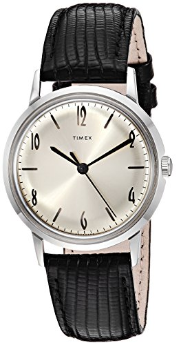 Timex Unisex Marlin Stainless Steel Hand-Wound Movement Black/Silver One Size ()