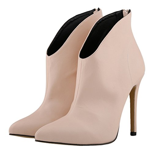 EKS Damen Spitze Stilett Reißverschluss Kurze Stiefel Beige-matt