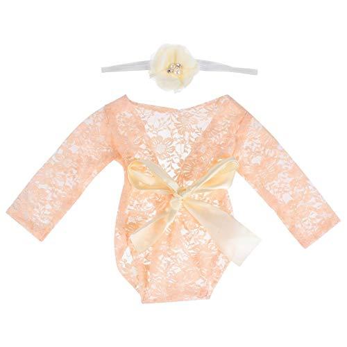 SOLUSTRE Baby Fotografie Prop Leuke Kanten Rompertjes Pasgeboren Bloemen Klassieke Outfits Met Bloem Hoofdband Voor…