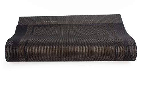 Allora Nest Place Mat, Placemats for Multi-Purpose Durable Heat Resistant Hot Pad Diameter Washable PVC Table Mats Woven Vinyl Placemats 18x12.5 inches Set of 4 Pieces,Brown