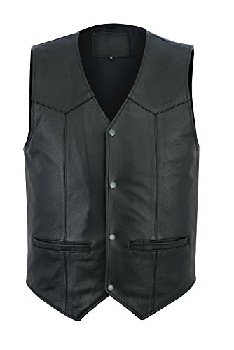(Ruja Men's Motorbike Club Style Classic Genuine Leather Vest (6X - Large) )