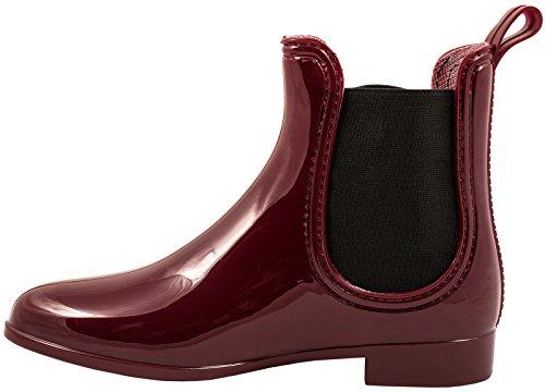 Elara Damen Gummistiefel | Bequeme Lack Stiefeletten | Chelsea Boots Rot tdYAZ