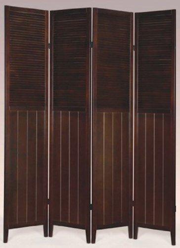 3 or 4 Panel Solid Wood Shutter Room Divider, Espresso (4 PANELS)