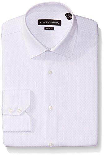 - Vince Camuto Men's Stripe Modern Fit Dress Shirt, Gray Dobby, 16.5