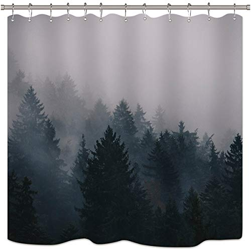 (Riyidecor Forest Nature Shower Curtain Set Trees Fog Pine Rustic Landscape Black Gray Art Printed Fabric Waterproof Bathtub Decor 12-Pack Plastic Shower Hooks (72