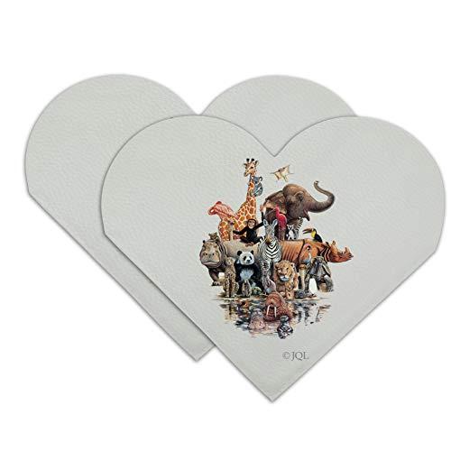 Diverse Animal Family Reunion Elephant Giraffe Panda Lion Walrus Hippo Heart Faux Leather Bookmark - Set of - Bookmark Heart Reunion