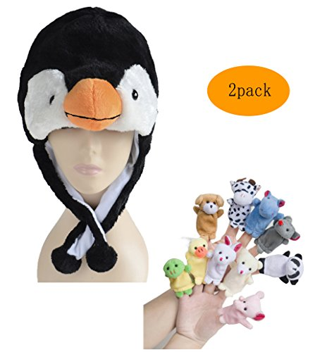 Pulama Funny Anime Winter Hats for Boys/Girls, with 10pcs Animals Finger Puppets Toy (Penguin) (Toddler Crocodile Costume)