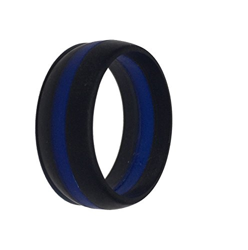Thin Blue Line Silicone Wedding Ring Band Flexible Hypoallergenic Active Wear for on duty or active life styles Law Enforcement (Mens Wedding Ring Ring)