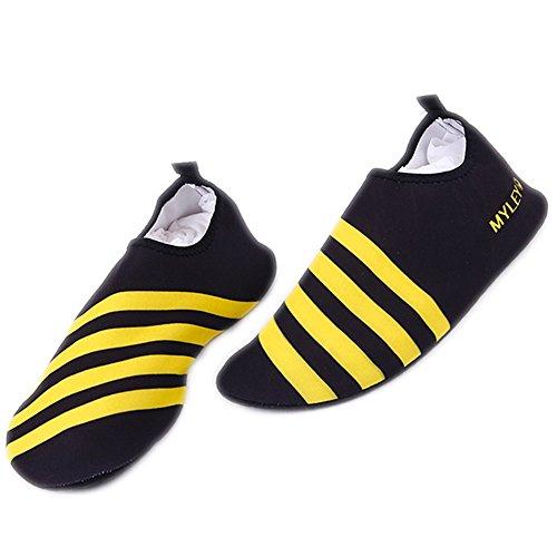 Barerun Barfuß Quick-Dry Frauen Männer Wasser Schuhe Haut Aqua Socken für Schwimmen Beach Pool Surf Yoga Sport Übung Streifen gelb