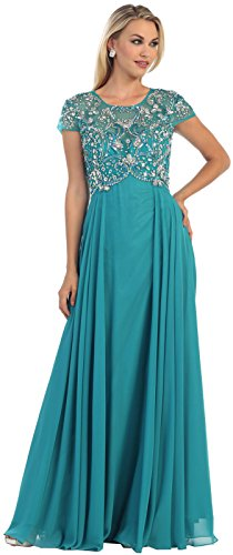 May Queen MQ1100 Formal Mother of The Bride Evening Dress (3XL, Teal Green)