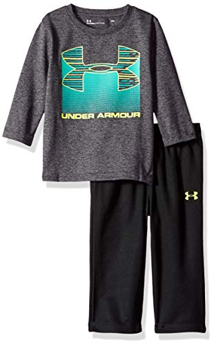 Under Armour Boys Two Piece Graphic Tee and Pant Set, Carbon Heather Rise 9-12 Months