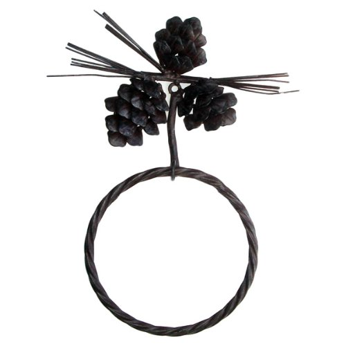 Pine Cone Towel Ring Wrought Iron Rustic Brown (Bar Towel Cabin)