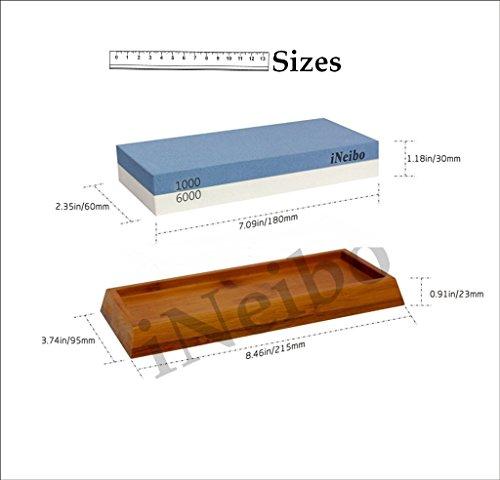 -[ iNeibo Whetstone Waterstone Sharpening Stone Knife Sharpener 1000 Grit Coarse/ 6000 Grit Fine 2