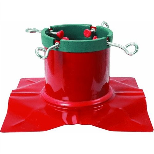Santa's Solution Extreme Heavy Duty Red Steel Christmas Tree Stand - For Live Trees Up To 9' Tall