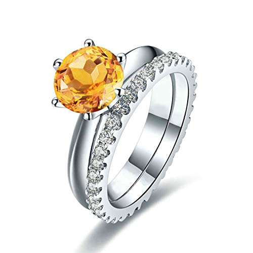 ANAZOZ Round Cut 7.5X7.5MM Yellow Citrine Ring Band S925 Sterling Silver Statement Engagement Ring Size 8.5