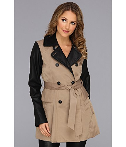 Jessica Simpson Faux Leather Sleeve Trench Coat Jacket Beige Size L