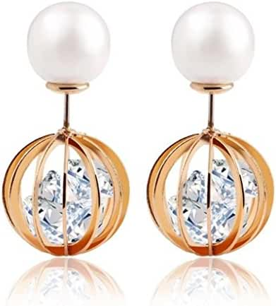Fiorozy Double-sided Earrings with Simulated Pearl and Crystal