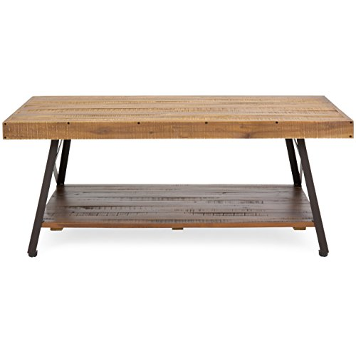 Best Choice Products Living Room Acacia Rustic Wooden Cocktail Coffee Accent Table Decor with Sturdy Metal Legs, Bottom Storage Shelf, Brown