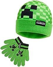 Minecraft Muts en Handschoenen, Beanie Hat met Creeper Pixel Patroon, Warme Jongens Muts Groen, Officiële Gaming Merchandise, Cadeau Jongen, Gift for Gamer
