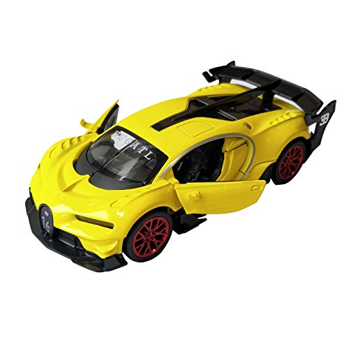 LMOY 1:32 Scale Bugatti Chiron Vision Grand Turismo (GT) Zinc Alloy Pull Back Diecast Toy car Model Collection with Light & Sound (Yellow)