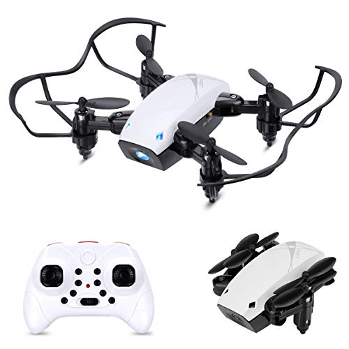 Foldable Mini Drone for Kids and Beginners, HALOFUNO RC Quadcopter Helicopter Remote Control Drones with Auto Hovering, Headless Mode, 3D Flip and Remote Control-White