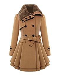 Jubileens Women's Faux Fur Lapel Double-breasted Thick Slim Wool Trench Coat Jacket