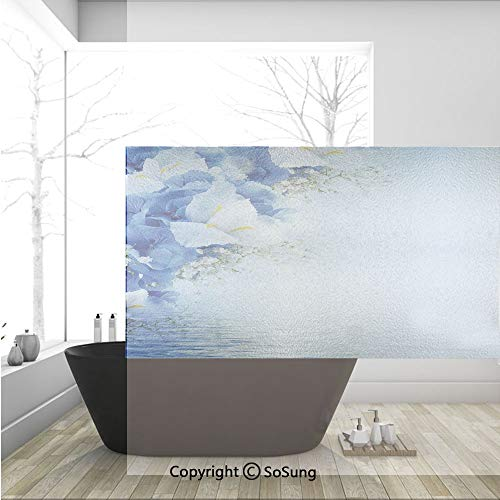(3D Decorative Privacy Window Films,Blue Hydrangeas and White Irises Over The Sea Romantic Bouquet Dreamy,No-Glue Self Static Cling Glass Film for Home Bedroom Bathroom Kitchen Office 36x24 Inch )