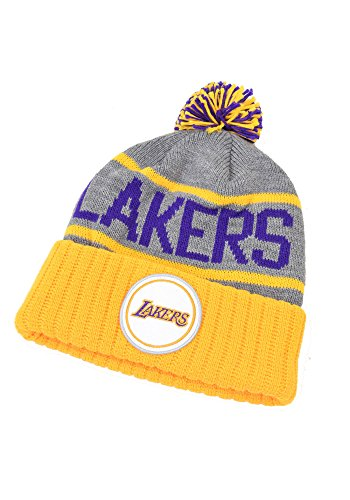 Los Angeles Lakers Mitchell & Ness NBA High 5 Gray Current Cuffed Knit Hat by Mitchell & Ness