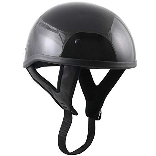 Outlaw Motorcycle Dot - Outlaw T68 DOT Glossy Black Motorcycle Skull Cap Half Helmet - X-Large