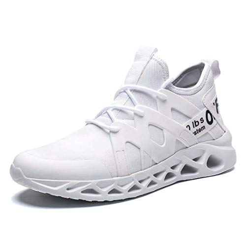 Pozvnn Mesh Ultra Lightweight Breathable Athletic Running Men's Sneakers Walking Gym Shoes Fashion Personality Boot Outdoor Sport White45 ()